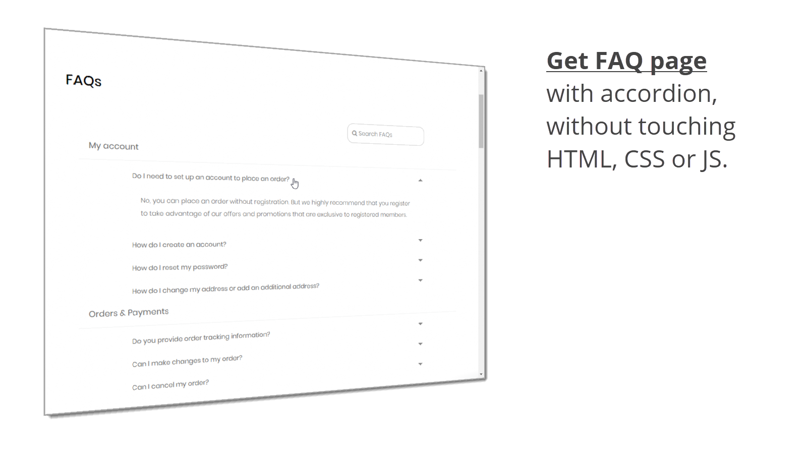 Get a responsive FAQ page with accordion
