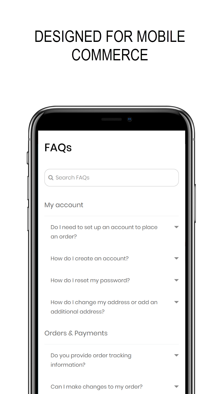 FAQ page designed for mobile commerce