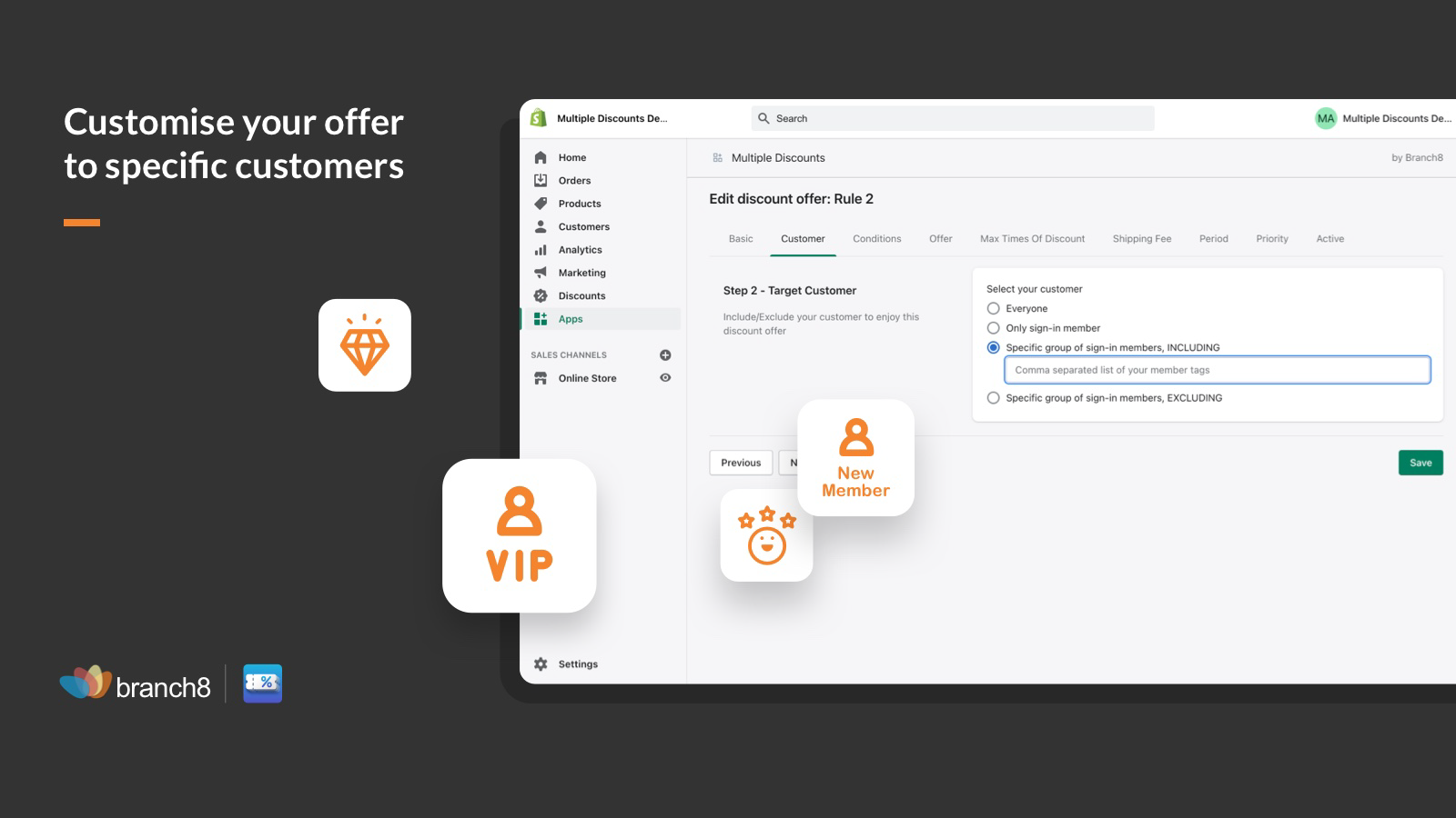 Customise your offer to specific customers