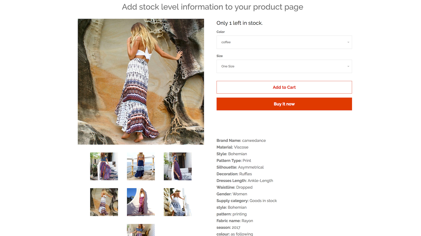 Stock level info on the product page