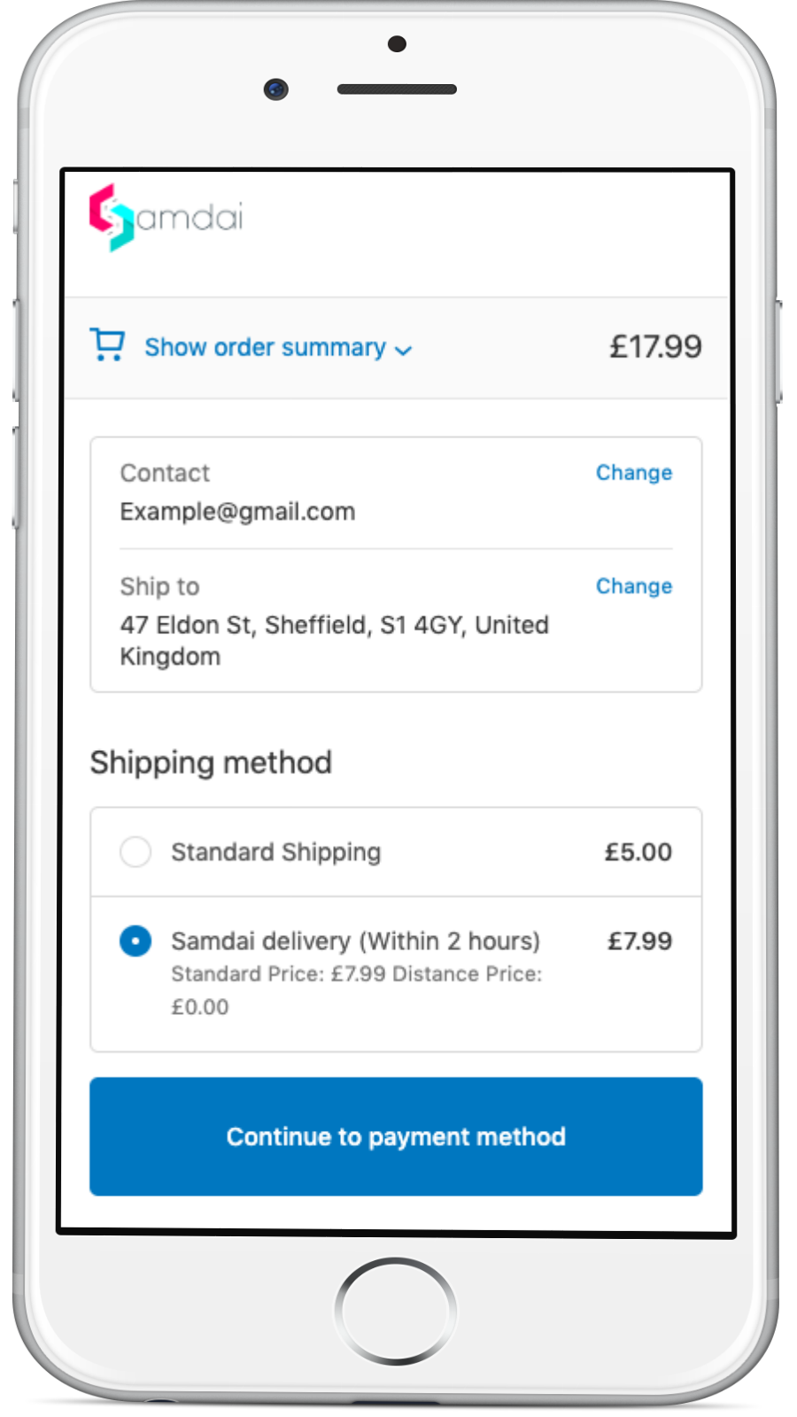 Same day delivery phone checkout screenshot
