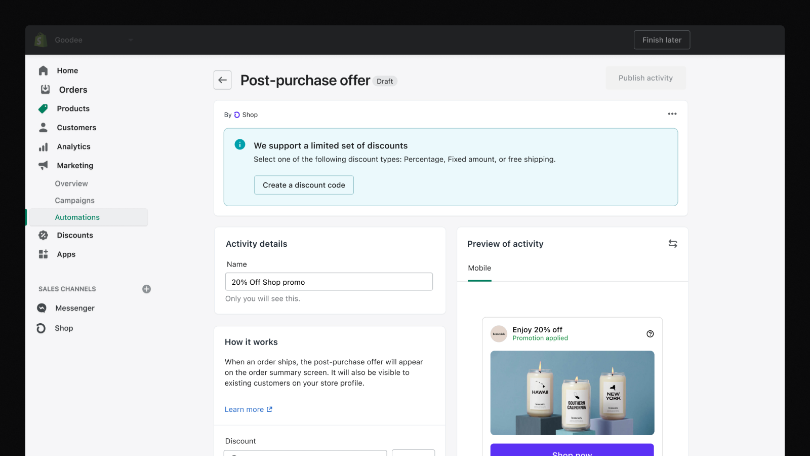 Post-purchase offers screen