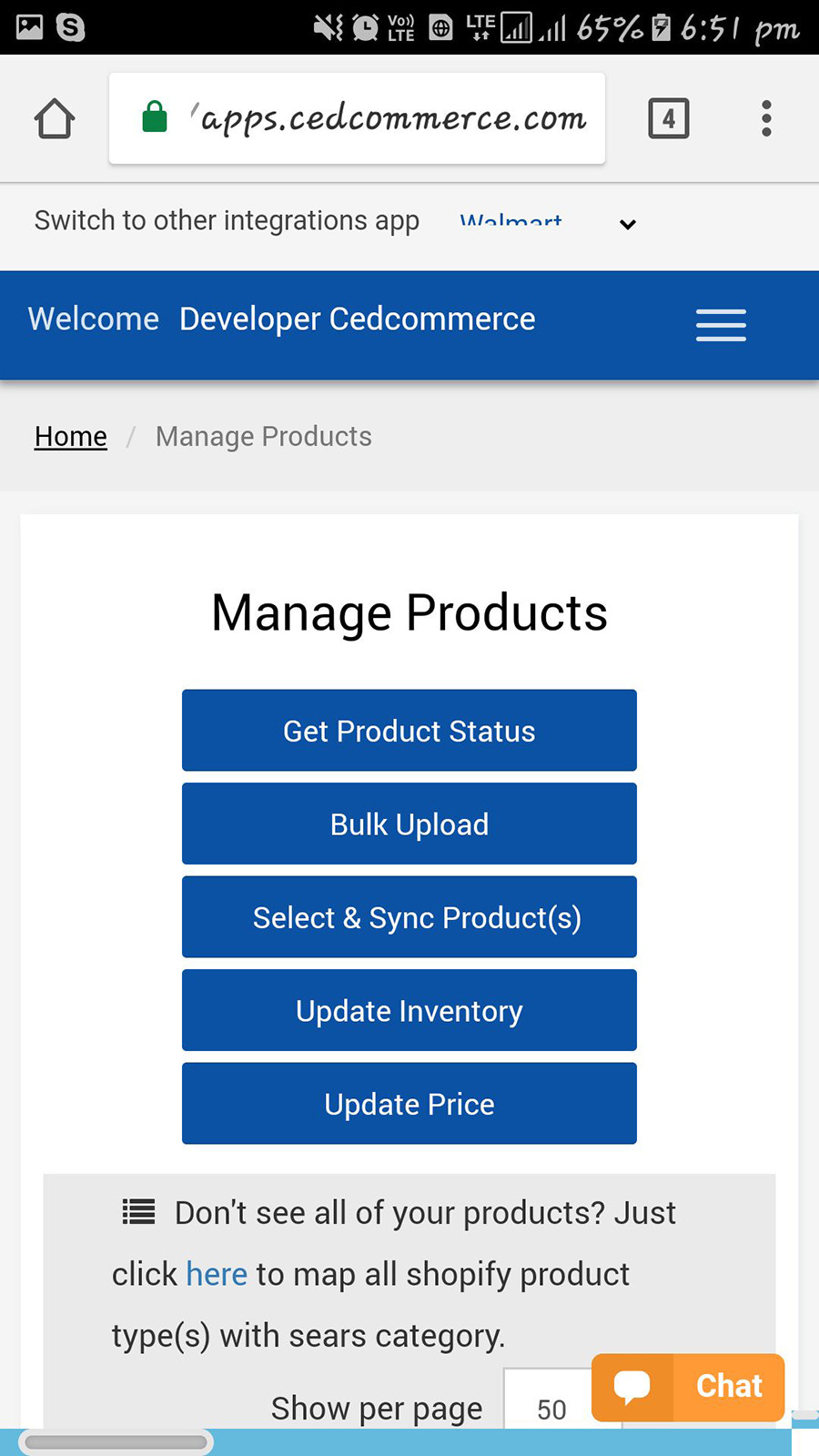 Manage Products Section
