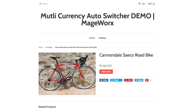 Multi Currency Auto Switcher - Frontend view