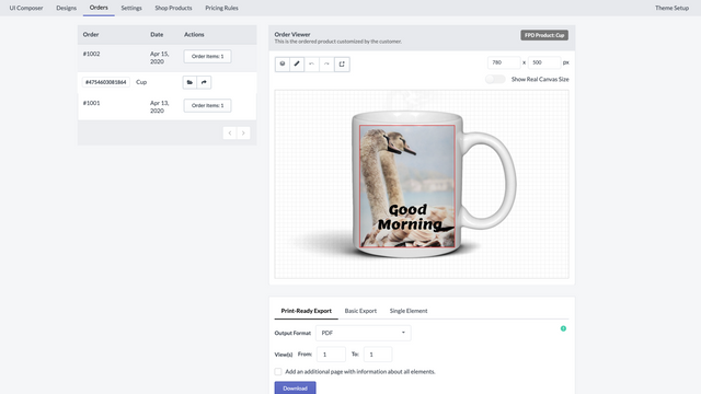 View orders & export the customization to different formats