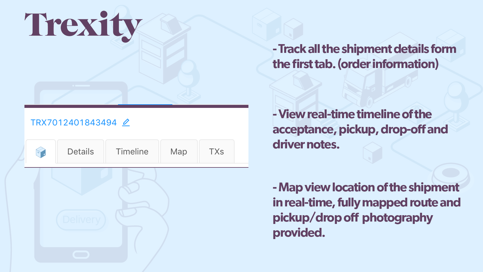 Trexity dashboard view and options