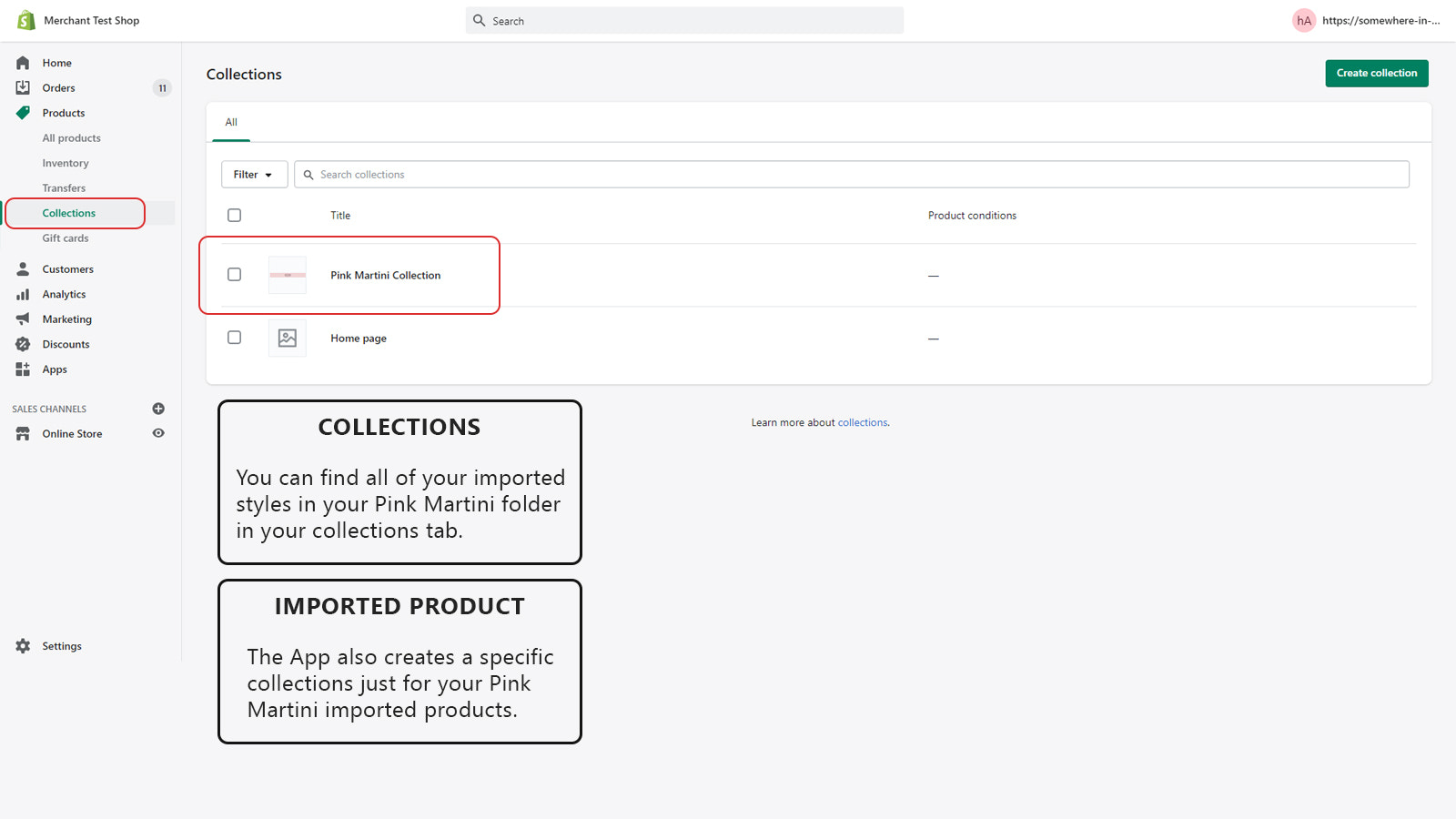 Find your products on the Collection Tab of your store