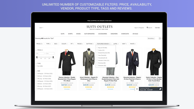Unlimited number of customizable filters for Shopify