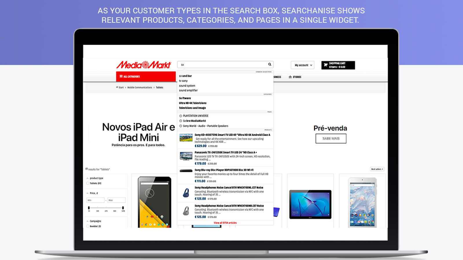 Relevant Shopify smart search as you type