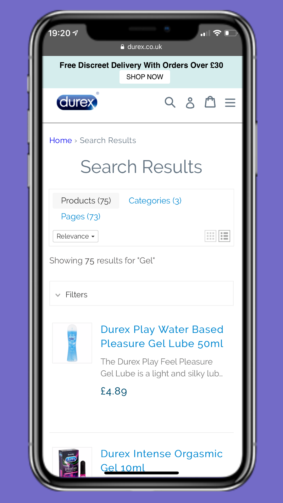 Search result widget for mobile devices