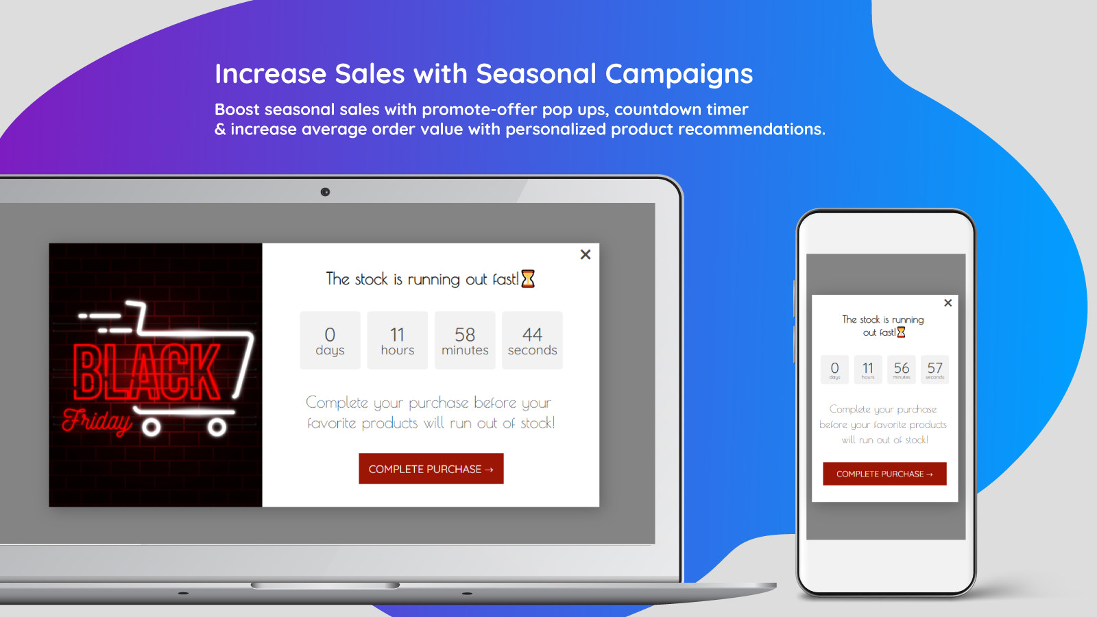 Promote-offer pop ups and countdown timers.