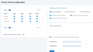 Self-Serve GDPR/CCPA Privacy Portal Configuration Dashboard