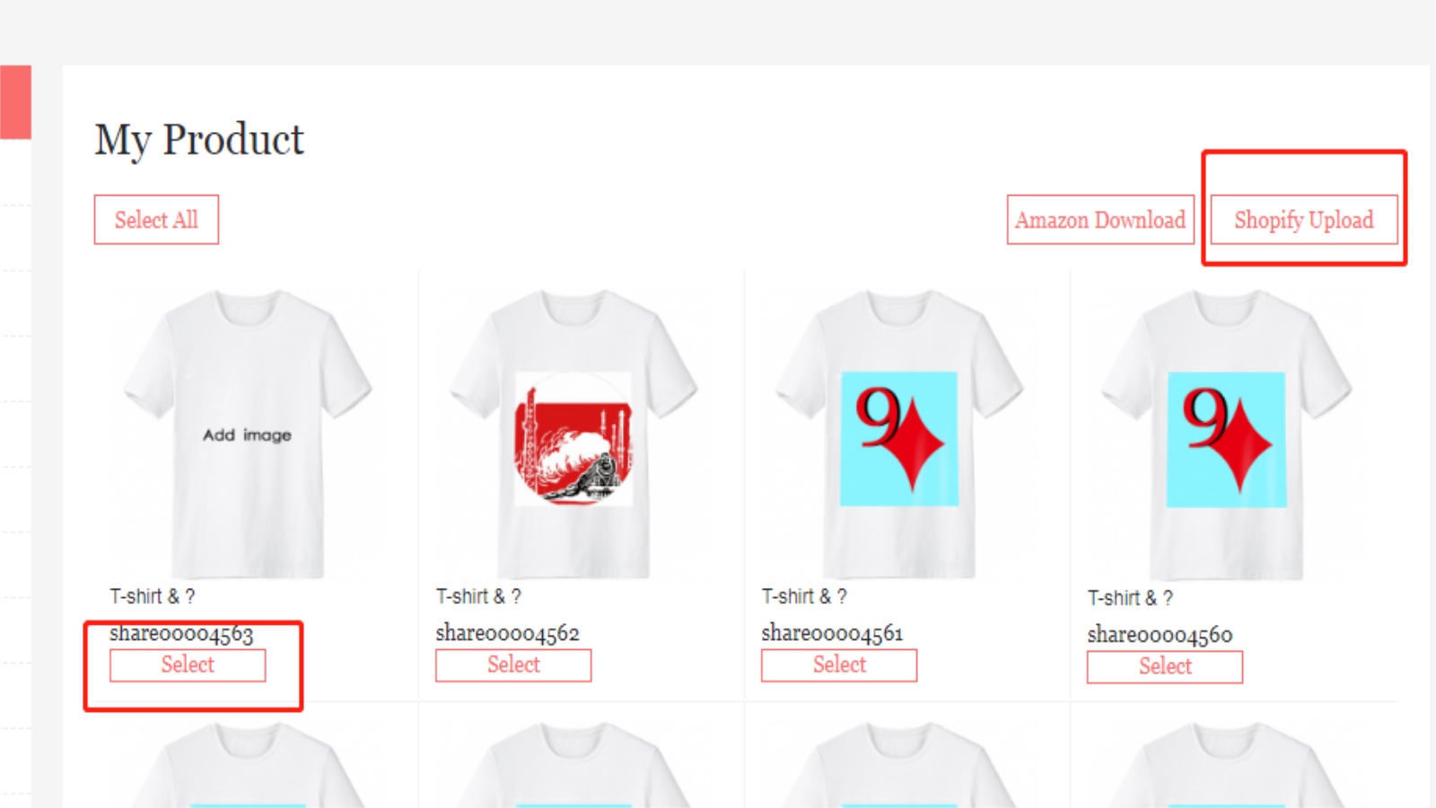 Select your product in your product center and click Shopify to