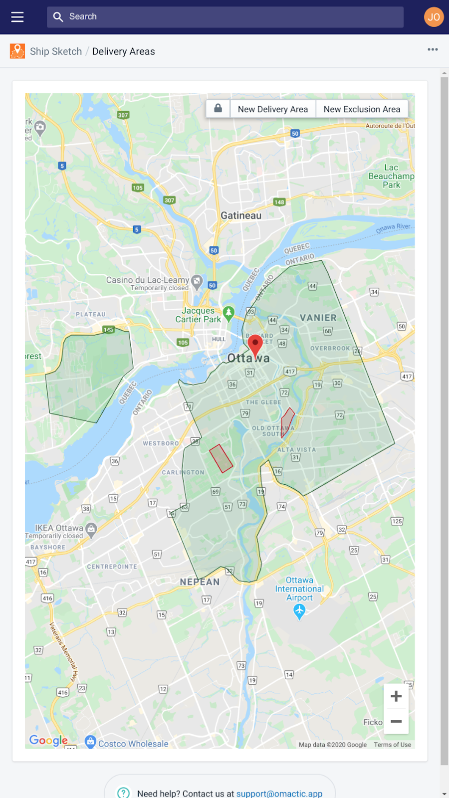 Mobile default view of a couple delivery areas