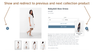 Show and redirect to previous and next collection product