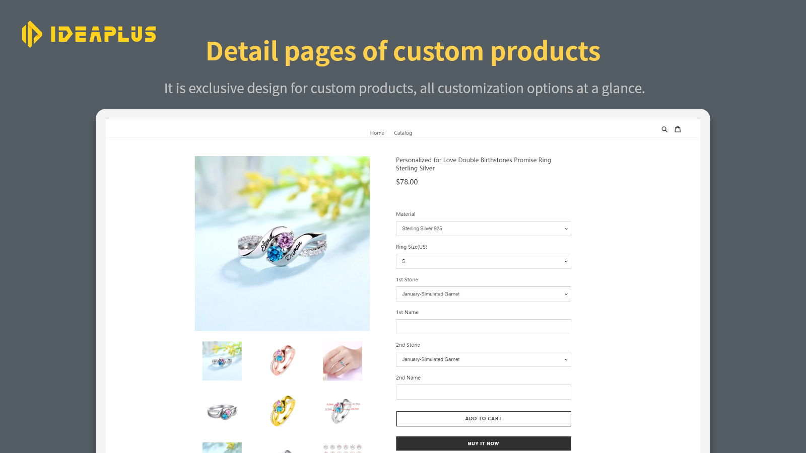 Detail pages of custom products