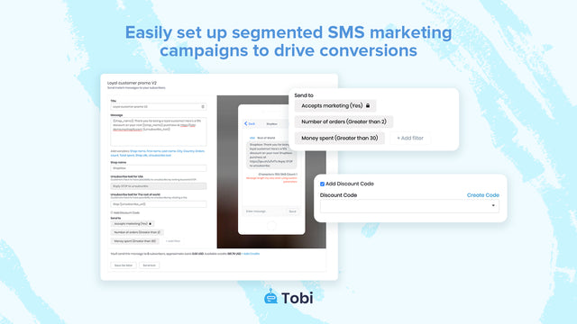 SMS cart promotional campaigns for Shopify stores by Tobi app