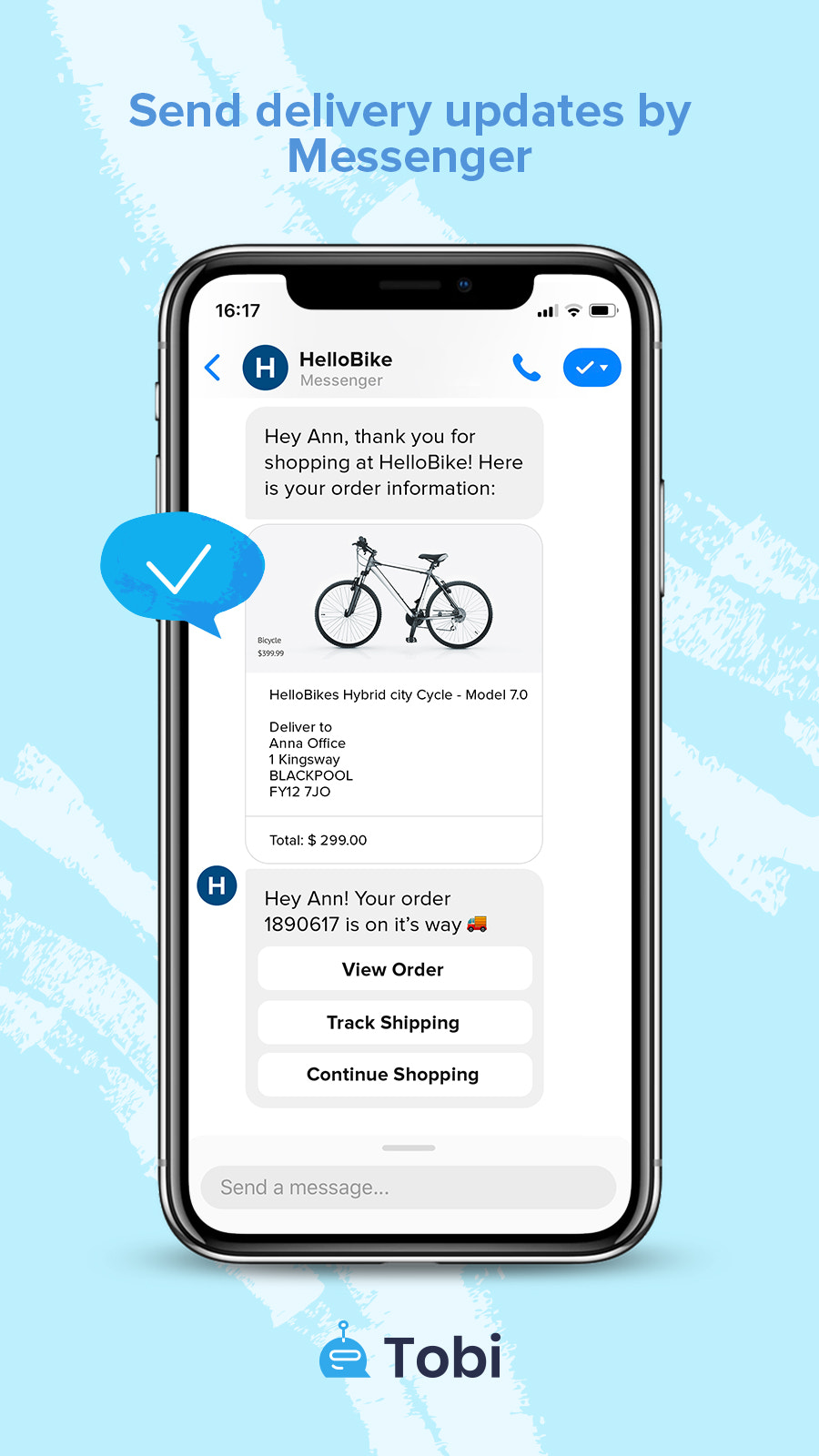 Facebook Messenger Delivery Updates message preview by Tobi