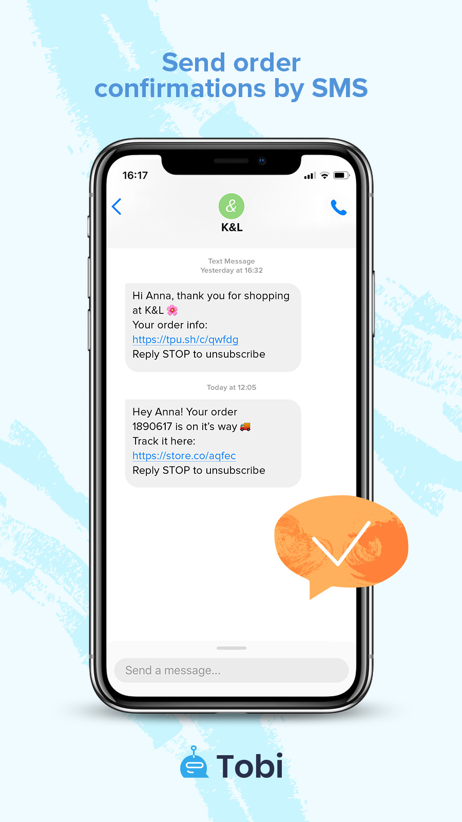 SMS Order confirmation and Delivery updates Preview by Tobi