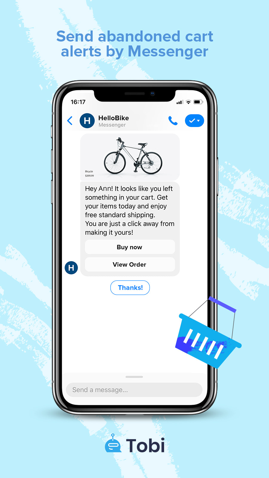 Facebook Messenger Abandoned cart recovery message by To