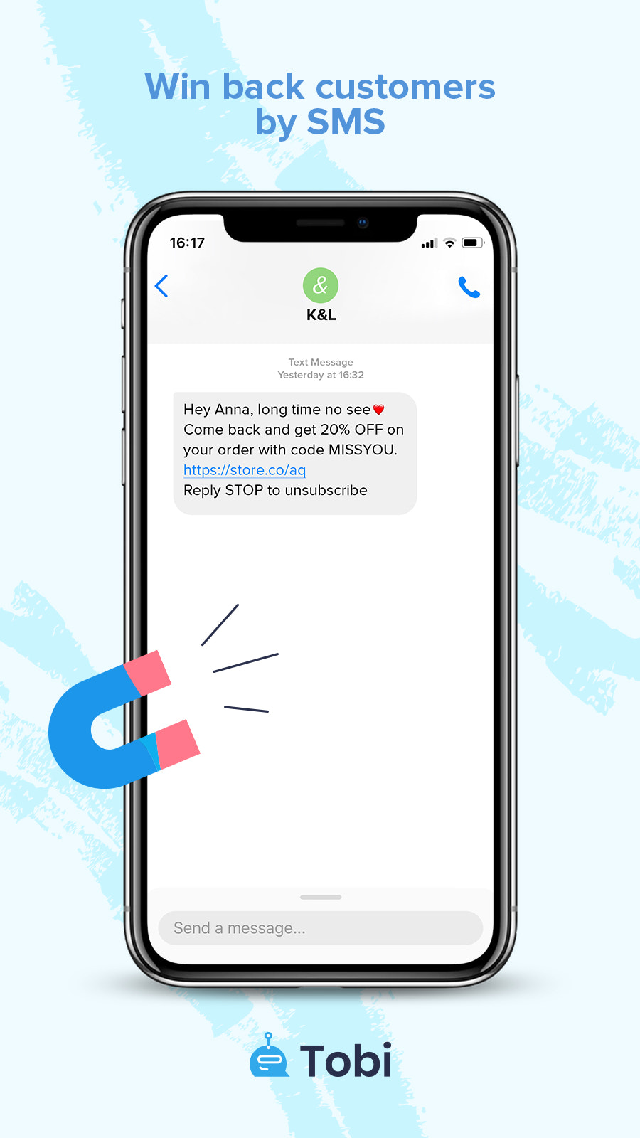 SMS cart Win Back Customers Message Preview by Tobi
