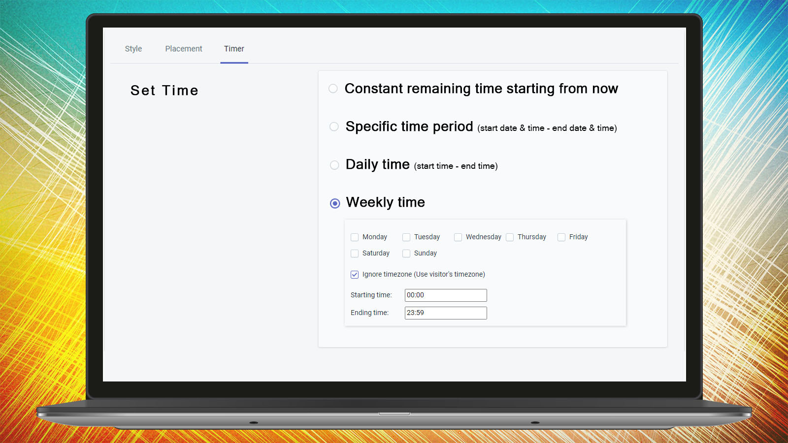 Product Timer Time Settings Countdown Timer Ultimate KILATECH
