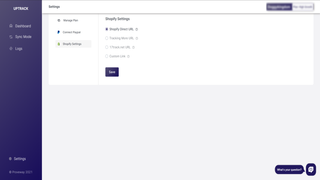 UpTrack settings page overview