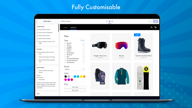 Customize the design using the theme editor