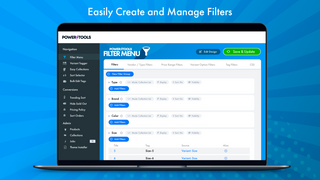 Easily add filters, such as type, brand, price, color or size