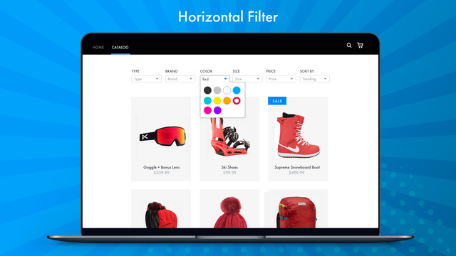 Dropdown and Horizontal Filters