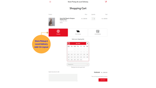 package pickup date picker on cart page- personalized delivery