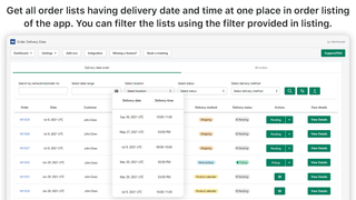 Order listing from order delivery date