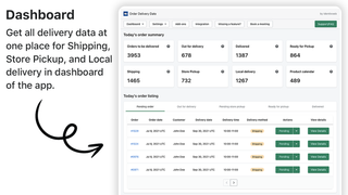 delivery dashboard