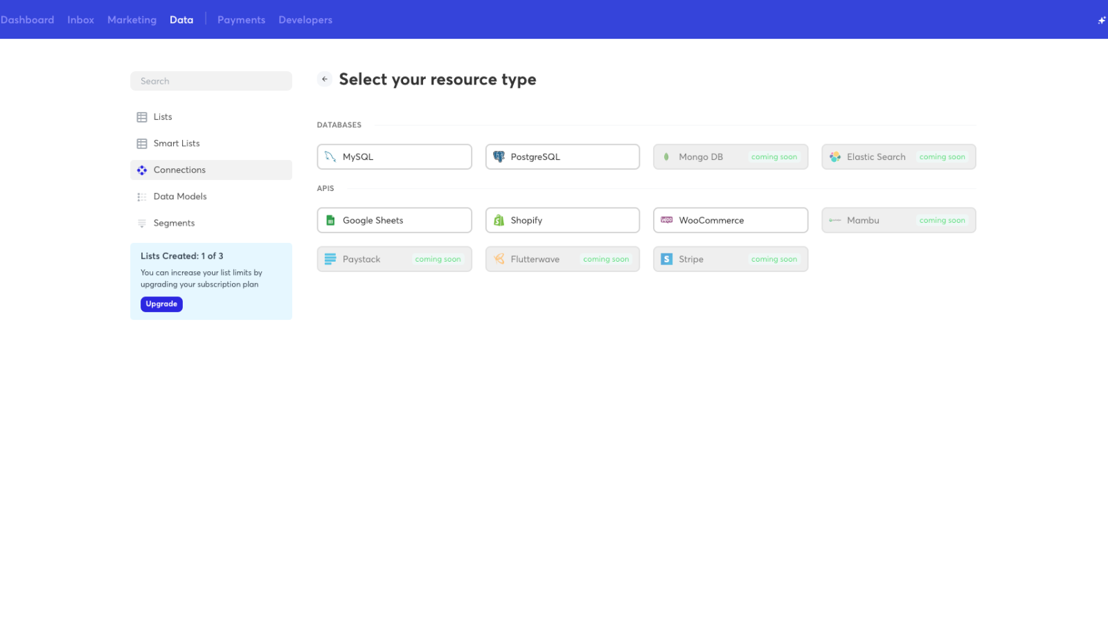 Select Shopify to make a Shopify connection in Simpu.