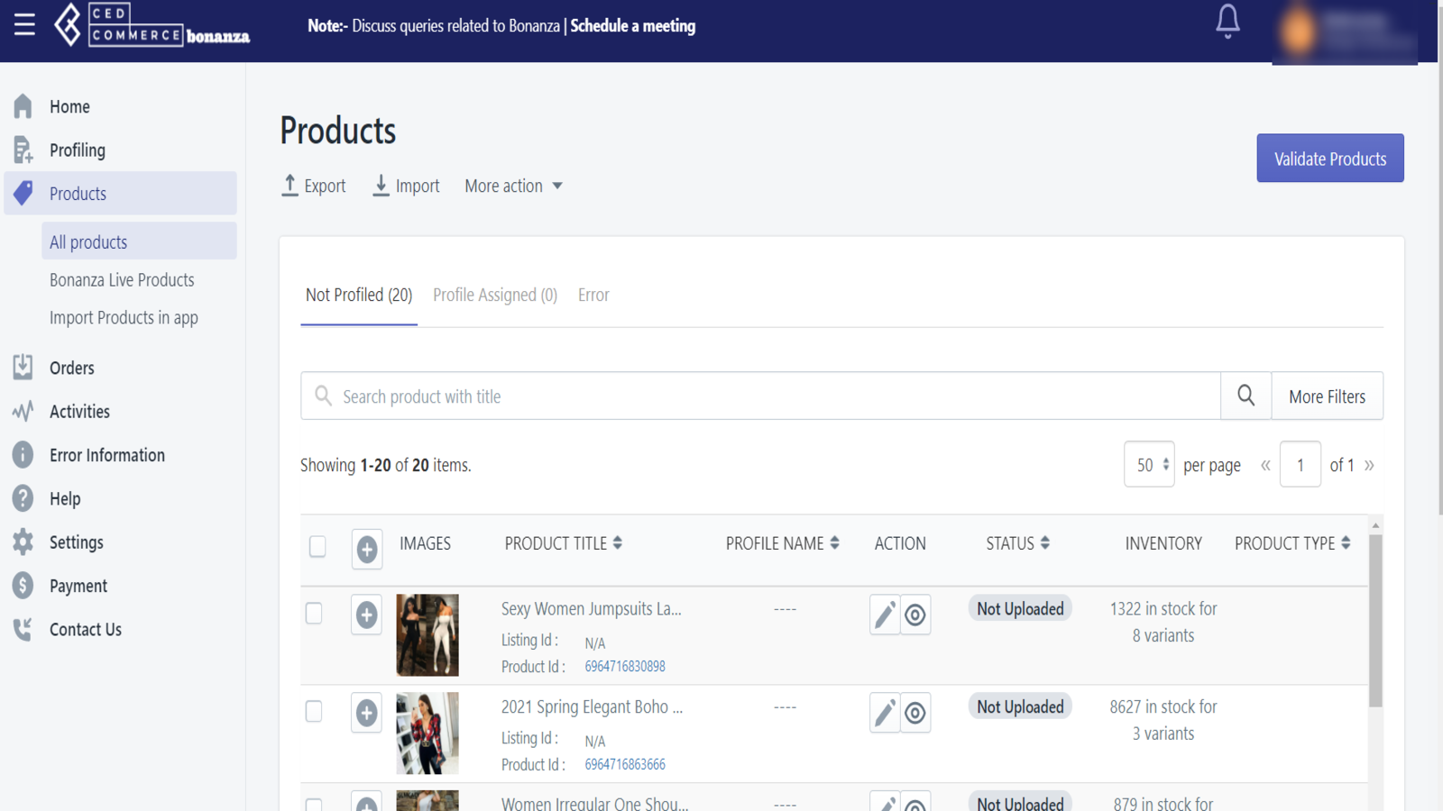 Manage products grid, Shopify Plus