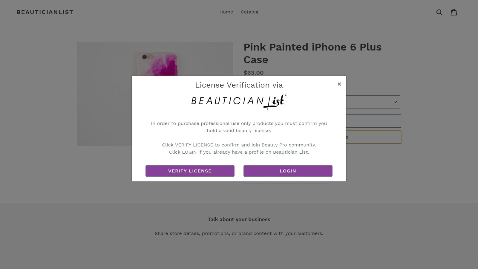 Individual Product page- Beauty Pro form popup