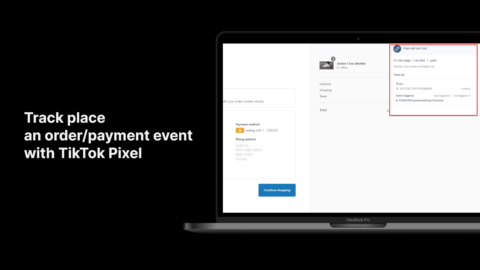 Track place an order/payment event with TikTok Pixel
