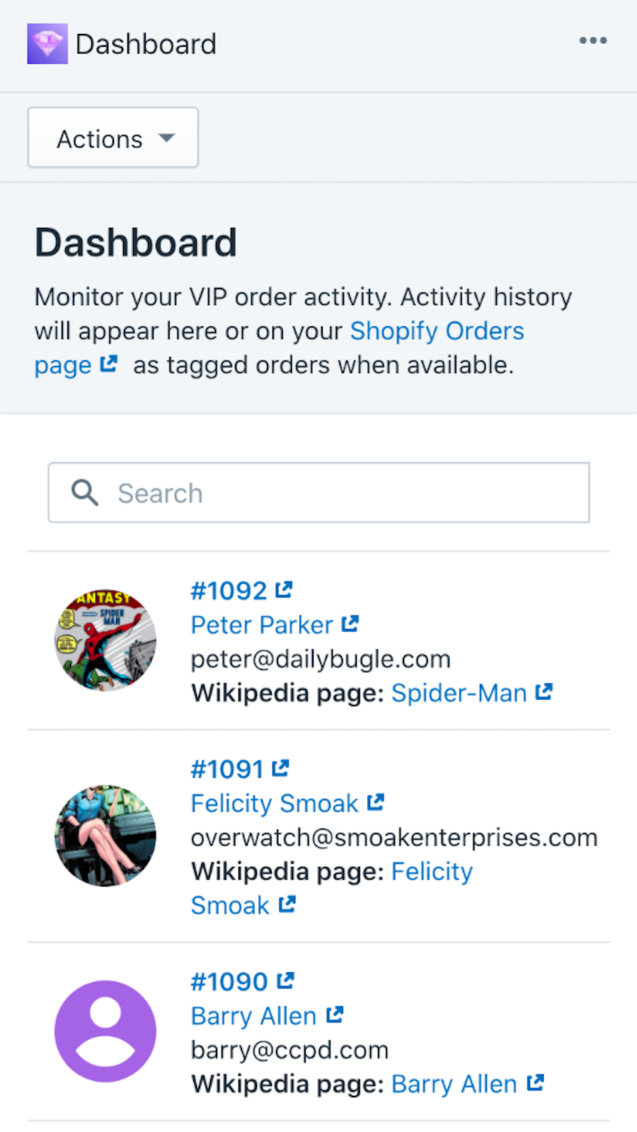 Dashboard of VIP orders - mobile view