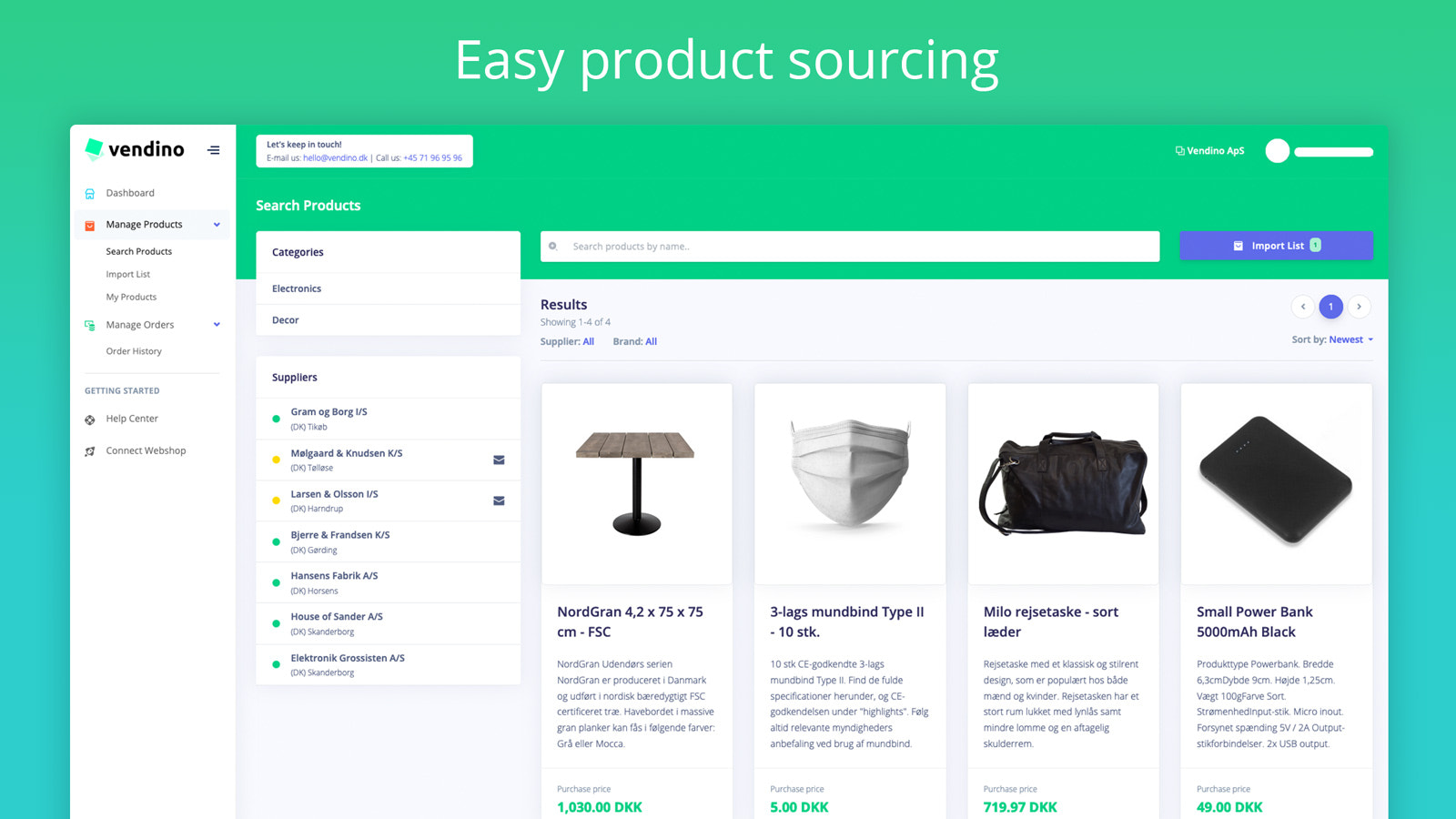 Easy product sourcing