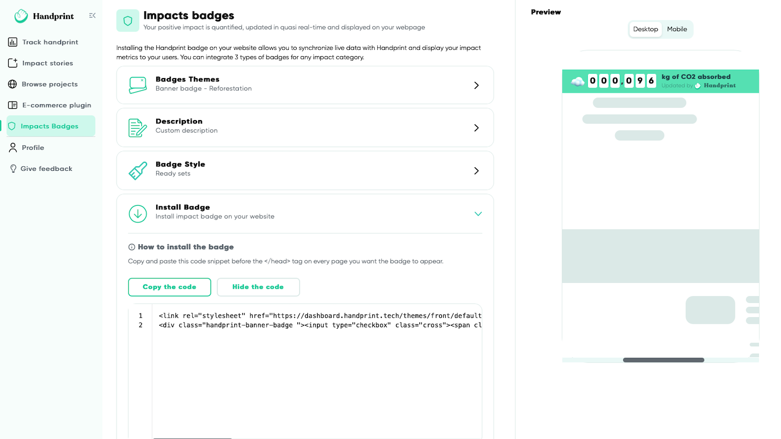 Install an animated counter with your live impact metrics