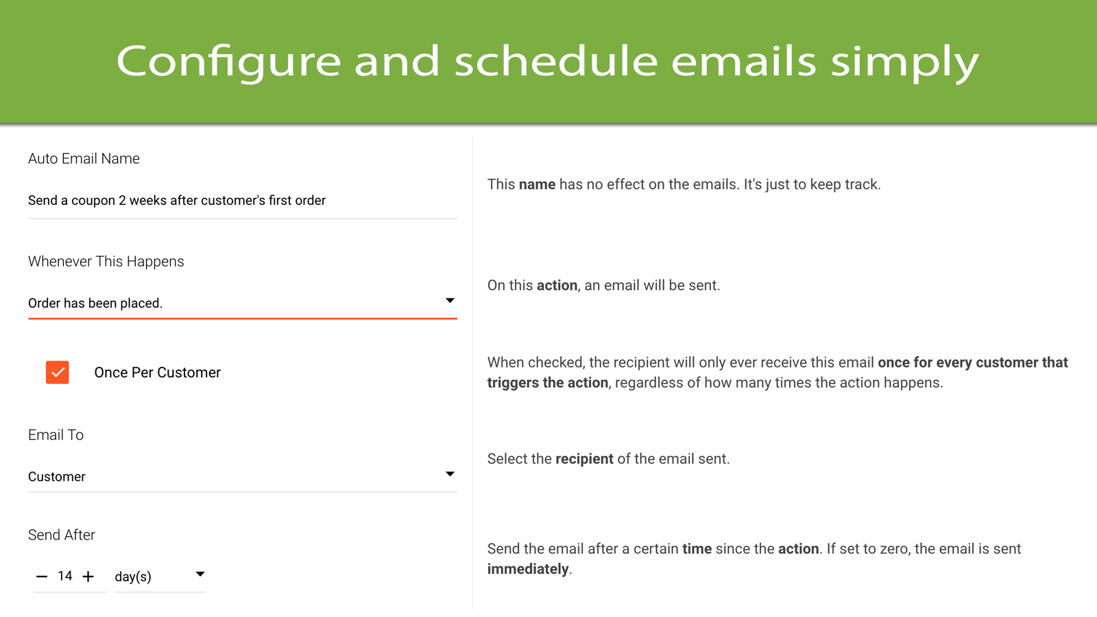 Configure and schedule emails simply