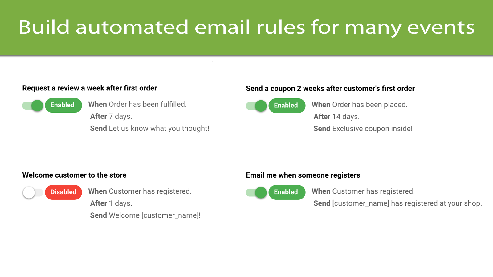 Build automated email rules for many events