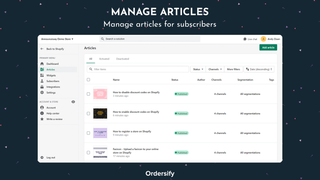 Manage articles