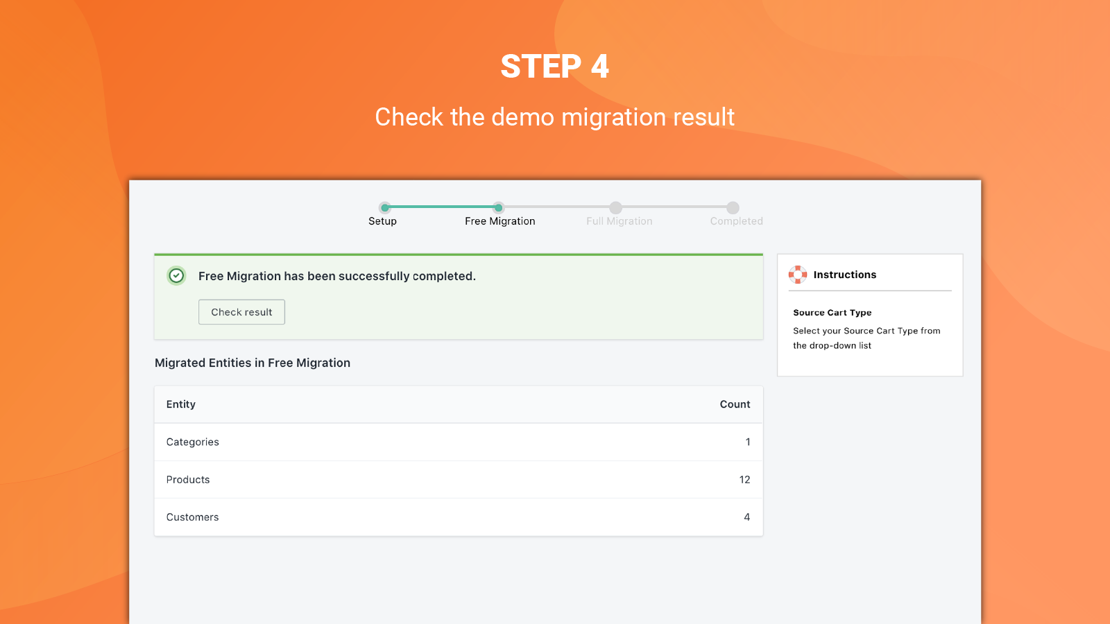 litextension wooCommerce import to shopify app check result