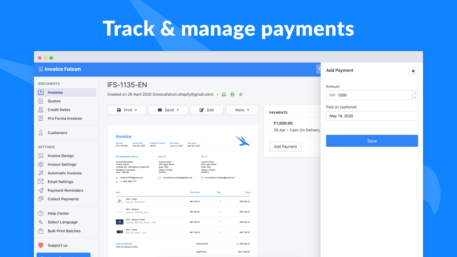 Track & manage payments for invoices