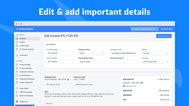Edit any invoice & add important details