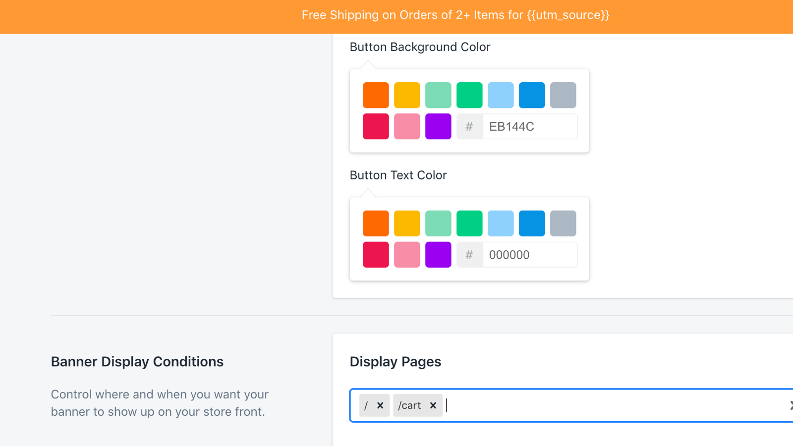 Set custom colors and pages to display the banner