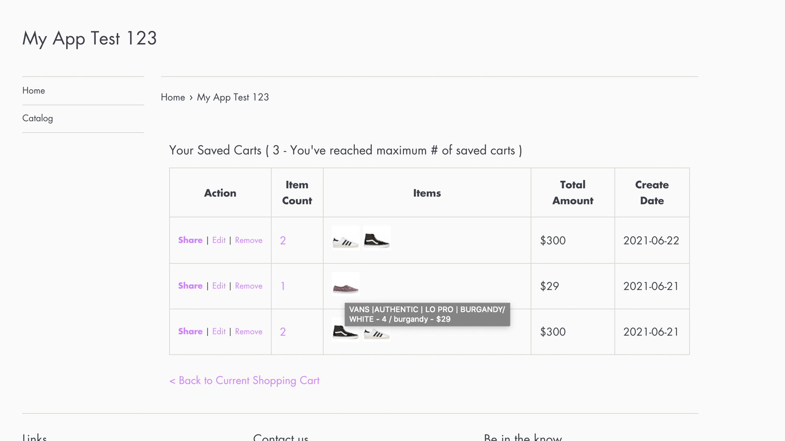 Easy to manage the saved carts