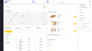 Customizable order tracking page builder
