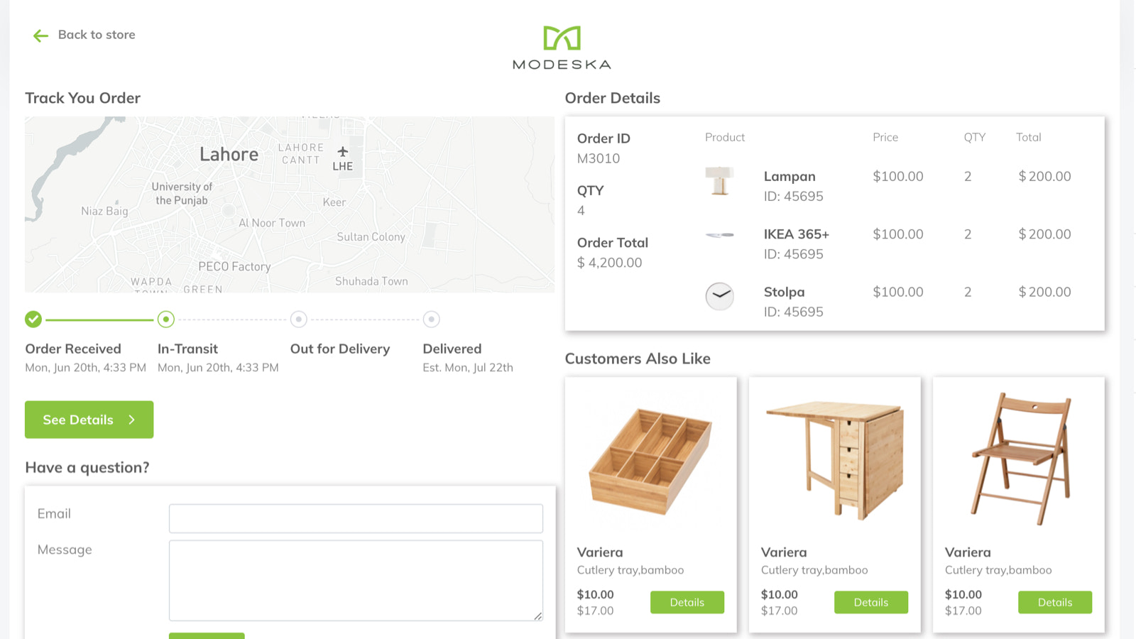 Customized and branded shipment tracking page for customer store